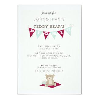 Teddy Bear's Picnic - Red & Blue 5x7 Paper Invitation Card