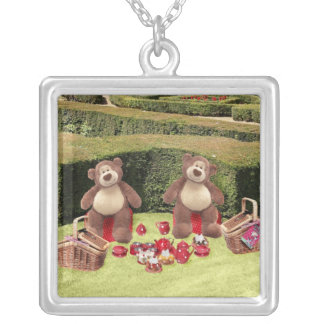 Teddy Bears Picnic Square Silver Necklace