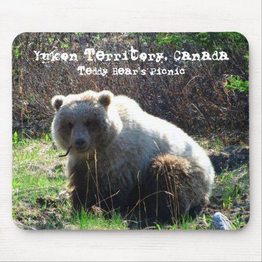 Teddy Bear's Picnic; Yukon Territory Souvenir Mouse Pad