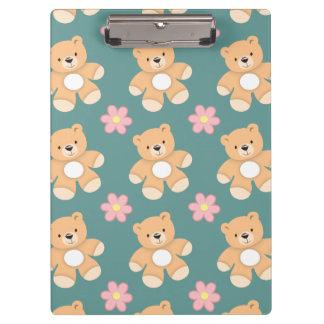 Teddy Bears & Pink Flowers on Blue Clipboards