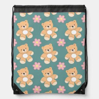 Teddy Bears & Pink Flowers on Blue Drawstring Backpack