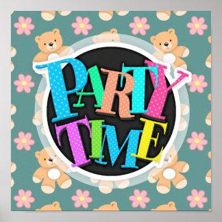 Teddy Bears Pink Flowers on Blue Posters