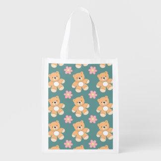 Teddy Bears & Pink Flowers on Blue Grocery Bags