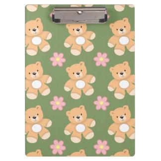 Teddy Bears & Pink Flowers on Sage Green Clipboards