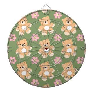 Teddy Bears & Pink Flowers on Sage Green Dart Board