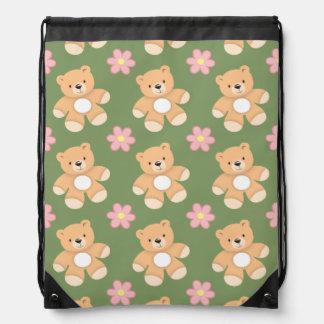Teddy Bears & Pink Flowers on Sage Green Drawstring Backpack