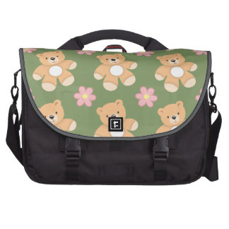 Teddy Bears & Pink Flowers on Sage Green Bag For Laptop