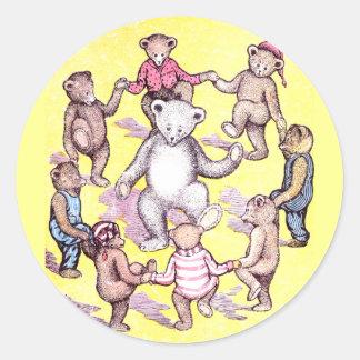 Teddy Bears Play Ring Around the Rosie Classic Round Sticker