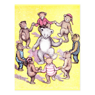 Teddy Bears Play Ring Around the Rosie Postcard