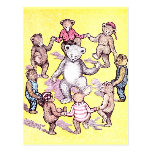 Teddy Bears Play Ring Around the Rosie Postcards