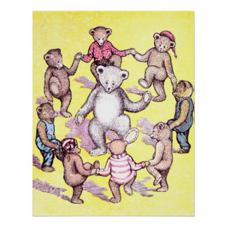 Teddy Bears Play Ring Around the Rosie Poster