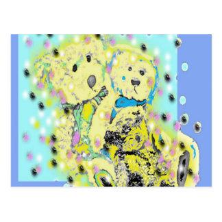 Teddy Bears Polka Dot Design Postcard