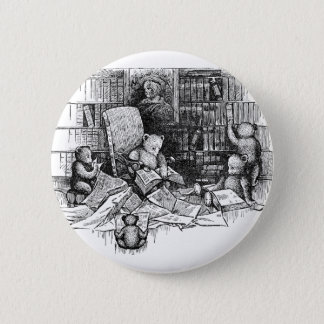 Teddy Bears Reading in the Library Button
