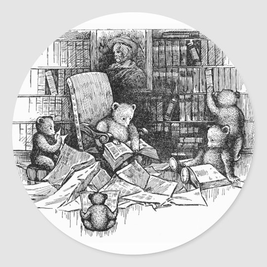 Teddy Bears Reading in the Library Classic Round Sticker