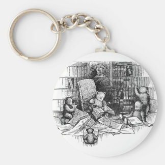 Teddy Bears Reading in the Library Keychain