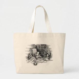 Teddy Bears Reading in the Library Large Tote Bag