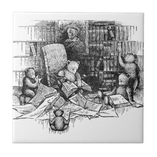 Teddy Bears Reading in the Library Tile