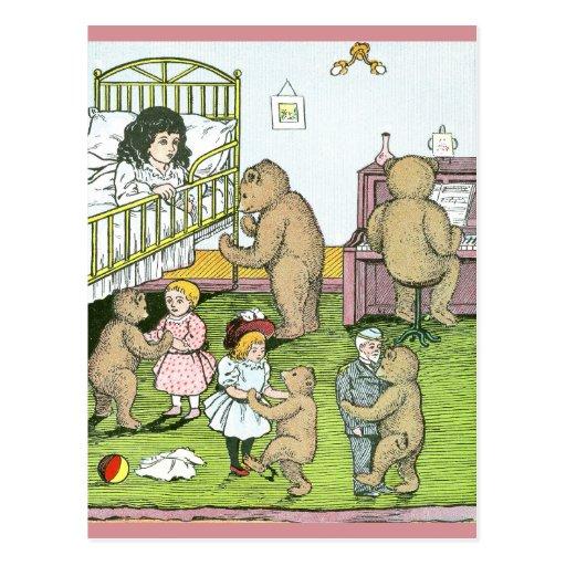 Teddy Bears Waltz with Dolls Postcards