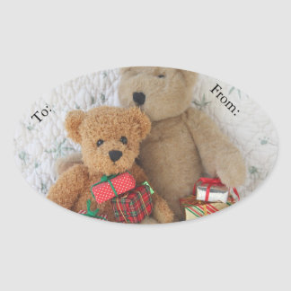 Teddy bears with Christmas gifts gift tag Oval Sticker