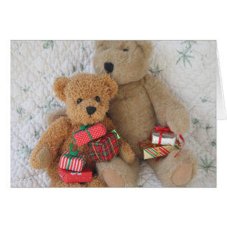 teddy bears with Christmas gifts greeting card
