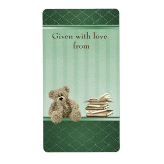 Teddy Bring a Book Neutral Baby Shower Bookplates