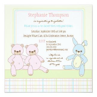Teddy & Bunny Triplets Baby Shower Invitation