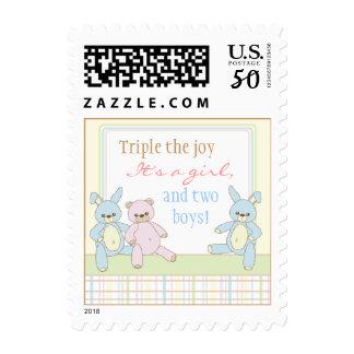 Teddy & Bunny Triplets Postage