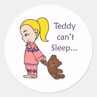 TEDDY CANT SLEEP CLASSIC ROUND STICKER