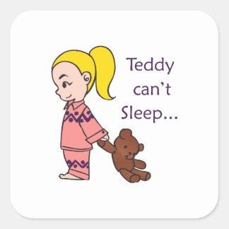 TEDDY CANT SLEEP SQUARE STICKER