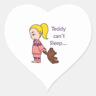 TEDDY CANT SLEEP HEART STICKER