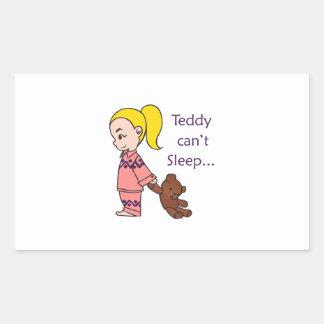 TEDDY CANT SLEEP RECTANGULAR STICKER