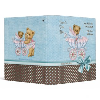 Teddy Carriage Polka Dots - Baby Boy 3 Ring Binder