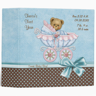 Teddy Carriage Polka Dots - Baby Boy Binder