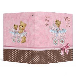Teddy Carriage Polka Dots - Baby Girl Vinyl Binder