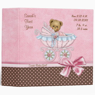 Teddy Carriage Polka Dots - Baby Girl Binder