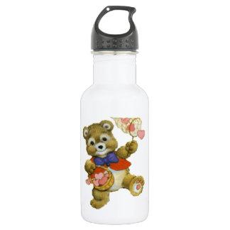 Teddy Catching Valentine Hearts Stainless Steel Water Bottle