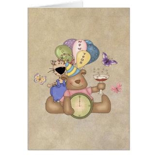 Teddy Celbrates New Year Card