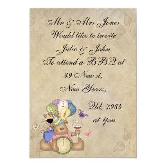 Teddy Celebrates New Year 5x7 Paper Invitation Card