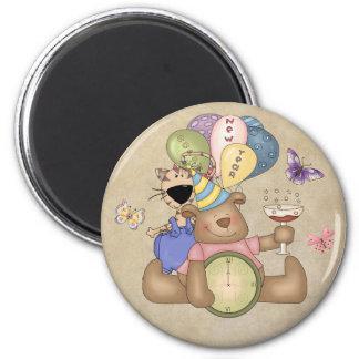 Teddy Celebrates New Year 2 Inch Round Magnet