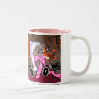 Teddy Christmas Mug  pink Santa hat &Pink ribbon