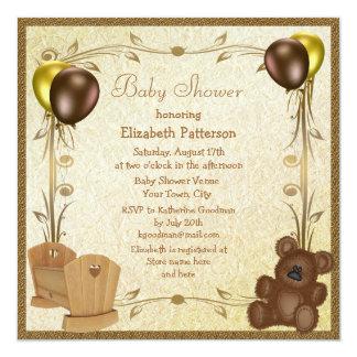 Teddy & Crib Vintage Brown & Gold Baby Shower Card