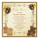 """Teddy & Crib Vintage Brown & Gold Baby Shower 5.25"""" Square Invitation Card"""