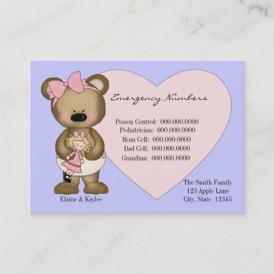 teddy emergency numbers babysitters card zazzle com