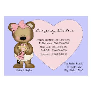Teddy Emergency Numbers Babysitters Card