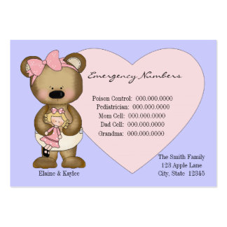 Teddy Emergency Numbers Babysitters Card Large Business Cards (Pack Of 100)