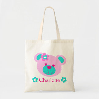 Teddy face pink aqua personalized name bag