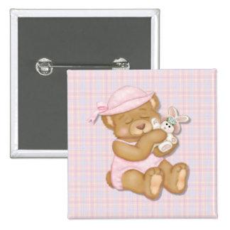 Teddy Girl Pink Pinback Button
