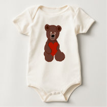 Teddy Has a Heart Baby Bodysuit