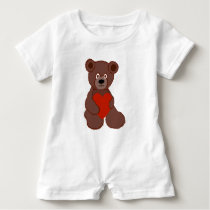 Teddy Has a Heart Baby Romper
