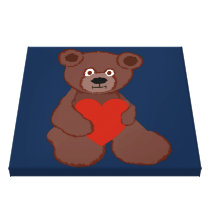 Teddy Has a Heart Wrapped Canvas